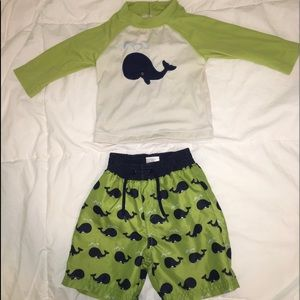Boys Gymboree swim trunk & rash guard set